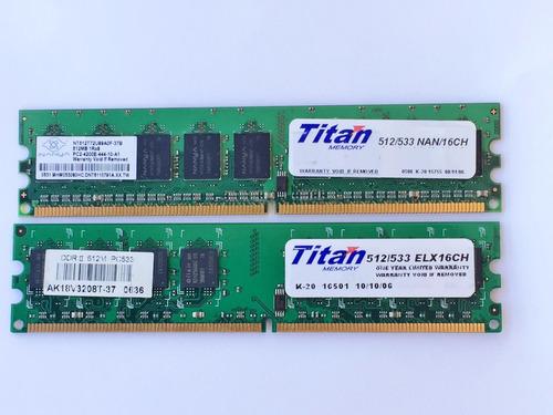 Memoria Ram Titan Ddr2 1 Gb (2x512) /533 Elx16ch