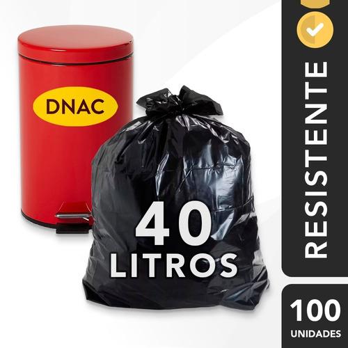 Saco De Lixo 40 L (litros) Preto Para Casa - 100 Unid.