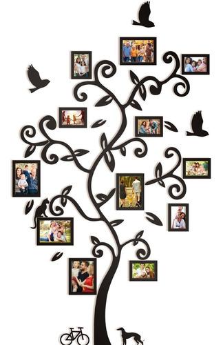 Quadro Sala Família Árvore Mdf Com Porta Retratos