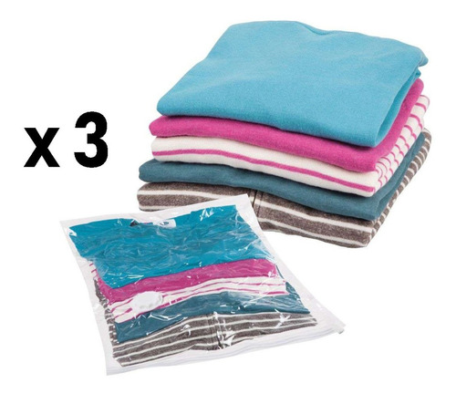 Set Pack X3 Bolsas Empacar Al Vacío Ropa Cobjijas Espacio