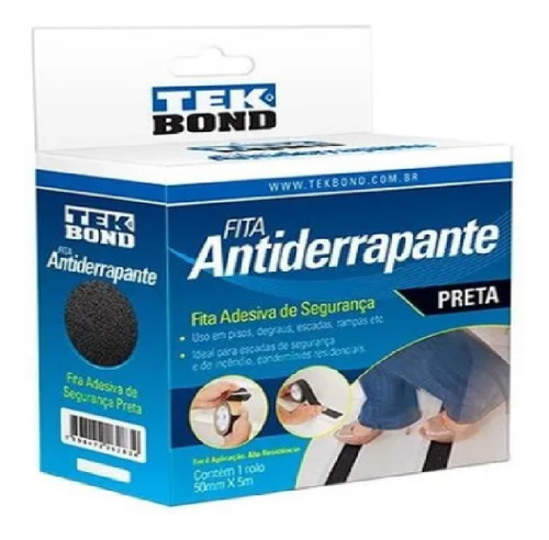 Cinta Ades Antiderrapante Tek Bond Preta 50mm X 05m