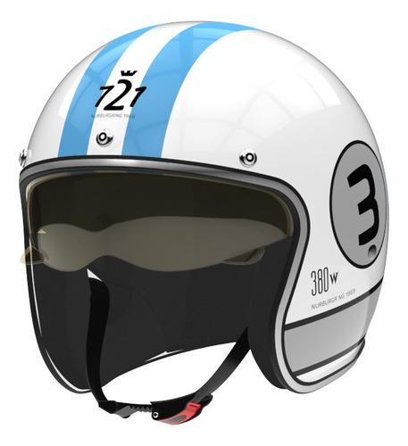Casco Para Moto Abierto Hawk 721  Blanco Brillante 380w Talle L