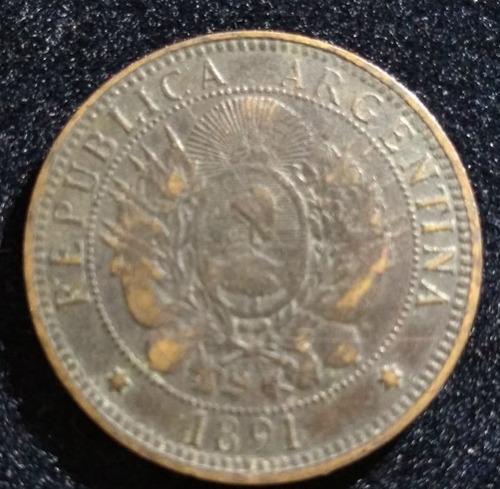 Moneda 2 Centavos 1891 Muy Bien Conservada Cod 5
