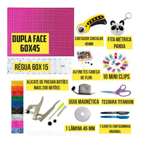 Kit Base De Corte Patchwork Cortador Alicate Botão Ritas