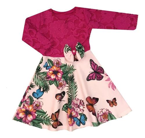 Vestido Infantil De Renda Rosa Manga Longa Rodado Com Laço