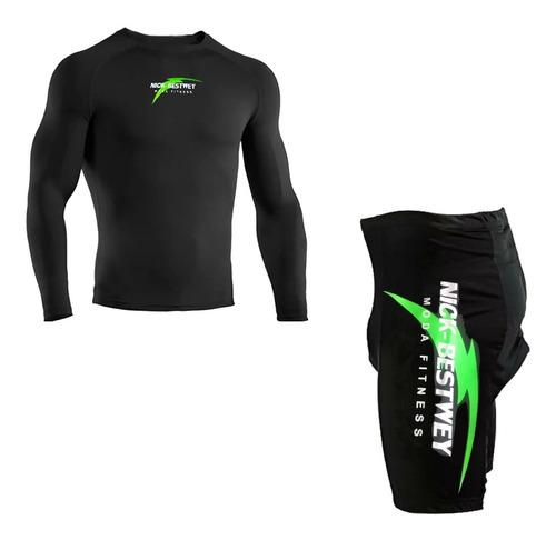 Conjunto Bermuda Acolchoada Bike E Camisa Proteção Solar Uv
