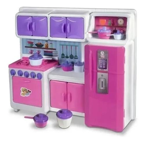 Cozinha Cristal Rosa Infantil Geladeira Fogão Completa 45cm