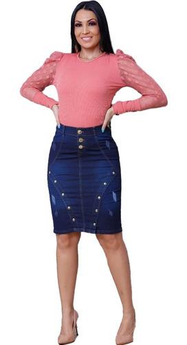 Saia Moda Evangélica Jeans Com Elastano Abertura Femininas