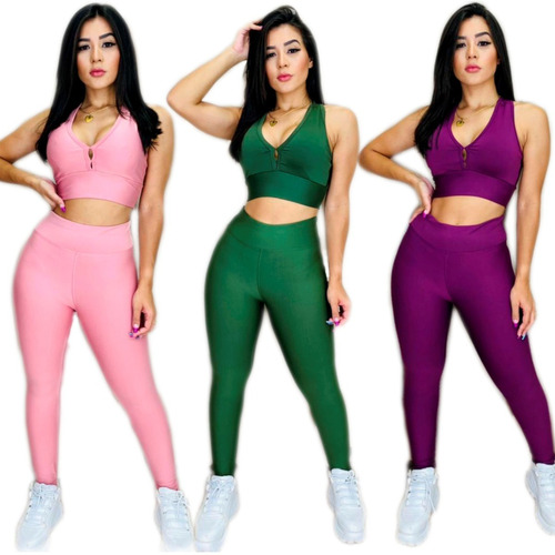 Kit 3 Conjuntos Fit Fitness Feminino  Academia Atacado