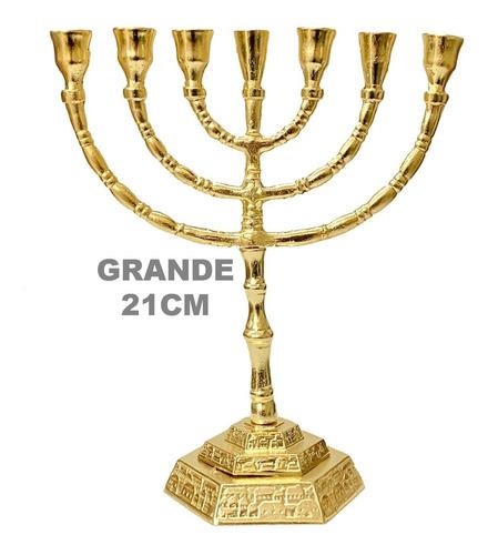 Candelabro Menorá Yerushalaym Dourado Moderno - Oferta