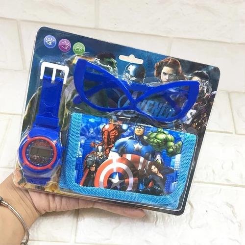 Vingadores Kit Relógio Infantil + Carteira Show + Oculos