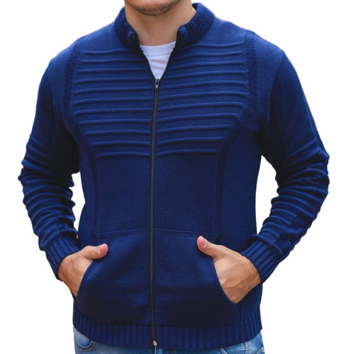 Suéter Masculino Em Tricot Gola Redonda Azul Marinho Premium