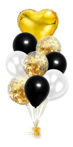 10 Balão Coração Estrela Metalizado Bexiga Látex Confete