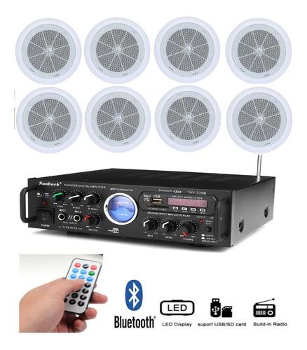 Kit Sonido Ambiental Amplificador + 8 Parlantes Techo Gypsun