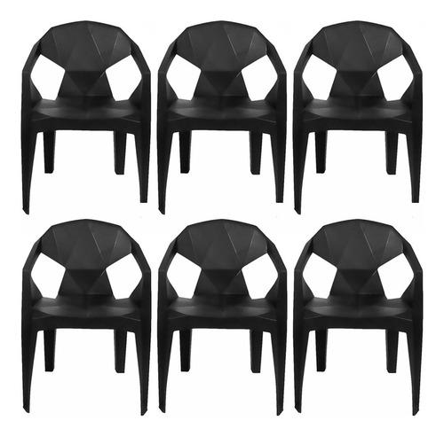 Conjunto De 6 Cadeiras Poltrona Suporta Até 182kg Diamond