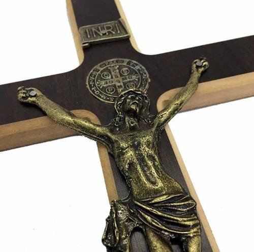 Cruz Crucifixo Parede São Bento Madeira Reforçada Maciça 34c