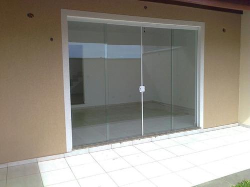 Porta De Blindex 2,10x2,00 Incolor 8mm 4 Folhas Kit Branco