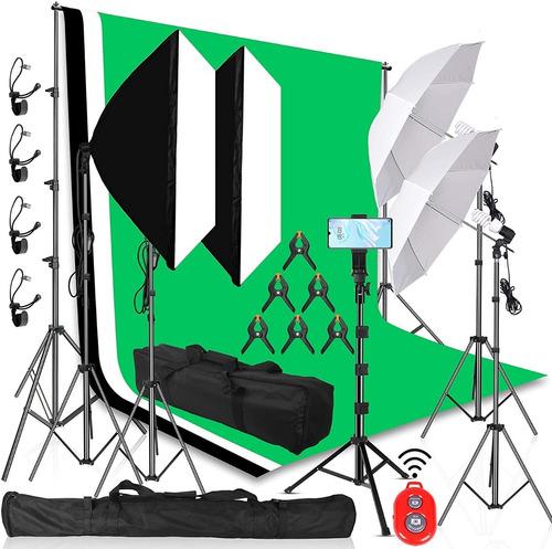 Kit Foto Estudio 3 Fondos De Pantalla Verde, Blanco Y Negro