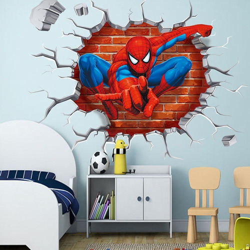Foto Mural Sticker Decoracion Pared Vinilo Spider Man 3d Wal