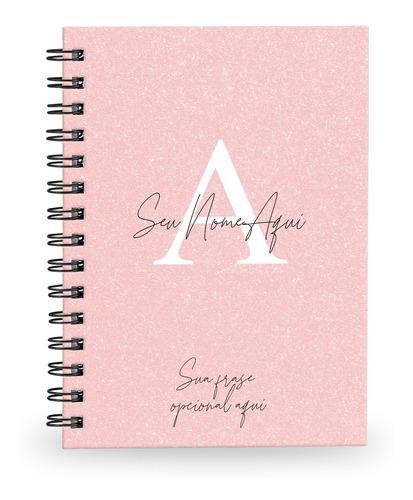 Caderno Personalizado Glitter 100 Fls 14x20 Cm