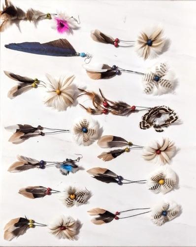 Brinco Flor Em Penas Acessórios Indígena Adorno Xamânico