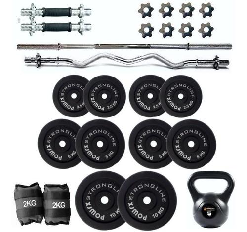 Kit Profesional Pesas Espectacular Home Gym Todo En Uno 90kg