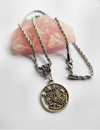 Tetragramaton Con Cadena Acero Pentagrama Plata Tibetana