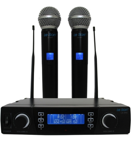 Microfone Duplo Sem Fio Lsx02 Digital Maleta Leson