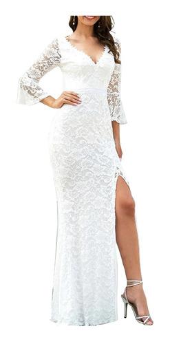 Vestido Longo Feminino Branco Off Renda Reveillon Fest #vl15