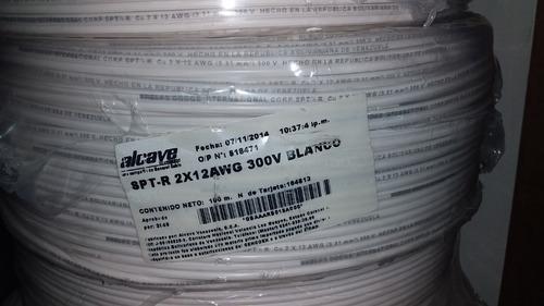 Cable Spt-r  2x12 Awg 300v 100% Cobre Alcave  100 Metros