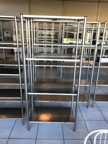 Estante Aço Inox 304 Cozinha Industrial 5 Prateleiras Lisas