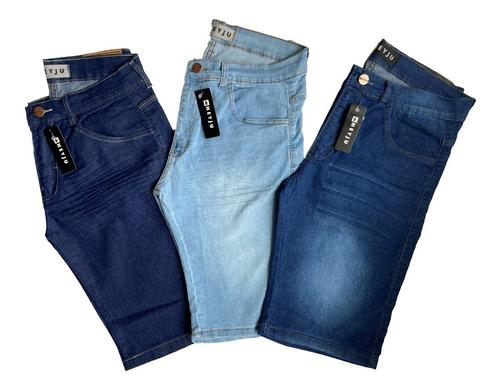 Kit 3 Bermudas Jeans Masculina Lycra Elastano