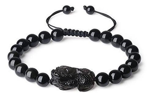 Coai Pulsera De Piedra De Obsidiana Negra Pixiu Pi Yao