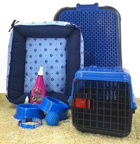 Kit Caminha Transporte Casinha Plástica P/cães Cachorro Cama