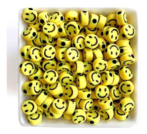 Miçanga Infantil Smile Amarelo, Carinha, Pulseiras - 50 Pçs