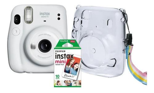 Kit Câmera Instax Mini 11 Branca + 10 Filmes + Bolsa Crystal