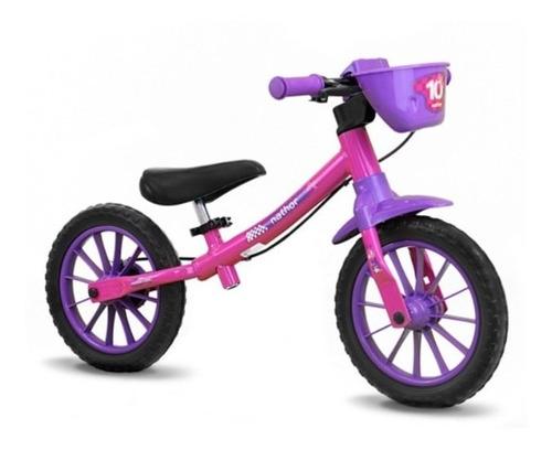 Bicicleta Criança Equilíbrio Nathor Sem Pedal Menina Rosa