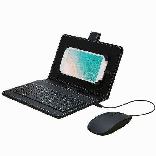 Portátil Tipo C Com Fio Teclado Mouse Conjunto Com Couro Cov