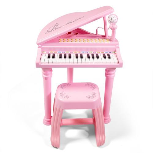 Teclado Piano Rosa Infantil Microfone Banquinho