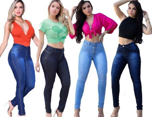 4 Calças Jeans Feminina Cintura Alta Com Lycla Melhor Preço