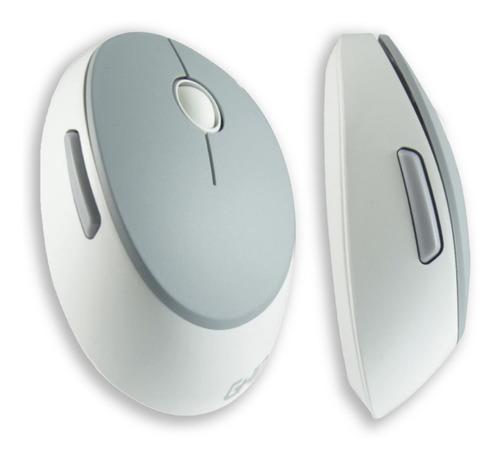 Mouse Ghia GM500 color Blanco con Gris Inalambrico Ergonómico para Pc o Laptop + Batería Incluída