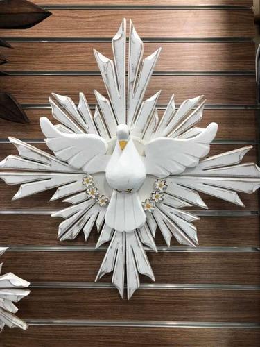 Mandala Divino Espírito Santo Madeira Patina 52x52cm Quadro