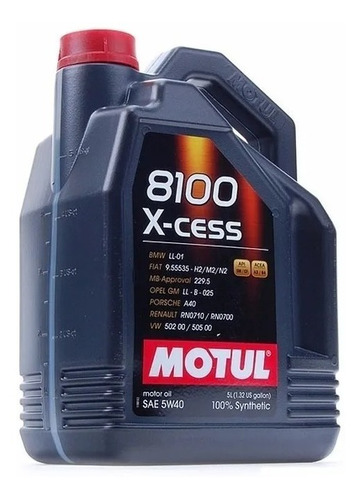 Aceite Sintetico 100% Motul 5w40 8100 X-ces 5 Lts