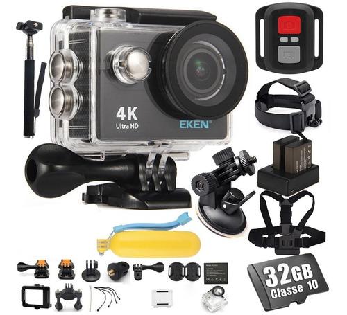 Kit Câmera Eken H9r 4k 32gb Baterias Peito Ventosa Cabeça