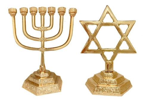 Candelabro Menorá Judaico+ Estrela De Davi Judaico- Banhados
