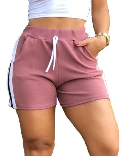 Kit5 Shorts Feminina Faixa Lateral Malha Crepe Top Revenda