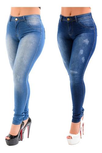 Kit 2 Calça Jeans Feminina Hot Pants Cintura Alta