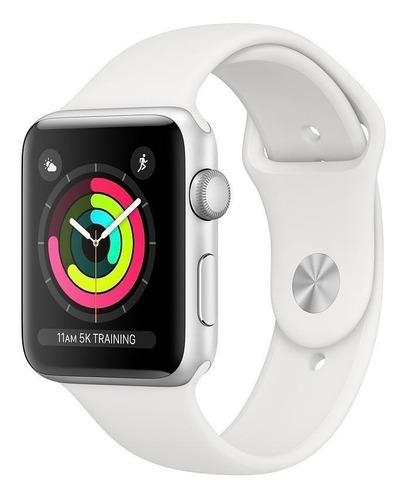 Apple Watch (gps) Series 3 42mm Caixa 42mm De  Alumínio  Silver Pulseira  White De  Fluoroelastómero A1859 Original