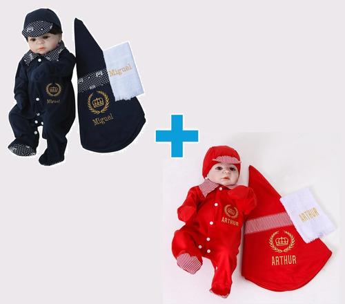 Combo 02 Kit Personalizado Saída Maternidade Menino Príncipe