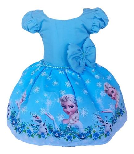 Vestido Frozen Elsa Ana Aniversario Infantil Festa Luxo